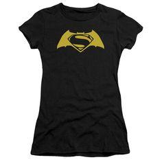 BATMAN V SUPERMAN SIMPLE LOGO Juniors Sheer Cap Sleeve T-Shirt