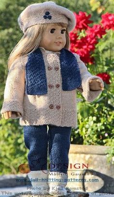 knitted dolls 18 inch doll knitting patterns - a stylish designer suit for you doll--Silk Alpaca Fingering. Knitting Dolls Clothes, Ag Doll Clothes, Crochet Doll Clothes, Doll Clothes Patterns, Knitted Doll Patterns, Knitted Dolls, Knitting Patterns, Knitting Projects, Ropa American Girl