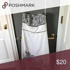 White House Black market strapless dress White strapless dress with black floral design excellent condition! White House Black Market Dresses Strapless