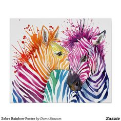 Funny zebra T-shirt graphics, rainbow zebra illustration with splash watercolor textured background. illustration watercolor Funny zebra fashion print, poster for textiles, fashion design - stock photo Arte Zebra, Zebra Kunst, Zebra Art, Artwork Prints, Canvas Art Prints, Painting Prints, Canvas Wall Art, Zebra Illustration, Watercolor Illustration