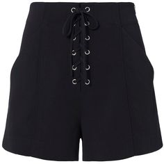 A.L.C. Women's Kyle Lace-Up Shorts (€310) ❤ liked on Polyvore featuring shorts, navy, side zip shorts, navy blue high waisted shorts, navy blue shorts, lace up shorts and high-waisted shorts