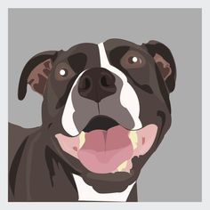 Staffordshire Bull Terrier Art Print Grey  Modern by SianMurrayArt