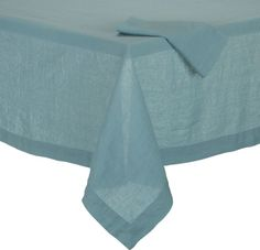 Helena Aqua Tablecloth and Helena Aqua Linen Napkin  | Crate and Barrel - what about pairing with a bold runner?