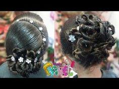 PEINADO/ RECOGIDO ELEGANTE MUY FACIL Y RAPIDO/ Peinados Rakel 7 - YouTube Dance Hairstyles, Flower Girl Hairstyles, Hair Due, Special Occasion Hairstyles, Protective Styles, Curly Hair Styles, Braids, Dreadlocks, Makeup