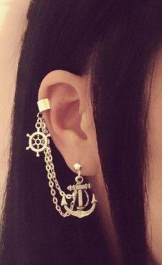 Anchor And Wheel Cartilage Chain Earrings Double Lobe Helix Ear Cuff Jewelry Piercing Oreille Cartilage, Piercing Face, Ear Piercings, Ear Cuff Jewelry, Chain Earrings, Circle Earrings, Jewellery, Cute Jewelry, Body Jewelry