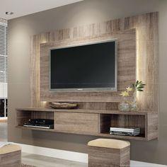 Home Suspenso para TV até 47 Polegadas Lume com 1 Porta de Correr e Fita LED 133 x 180 x 32,5 Roble Graffiato - HB Móveis | Lojas KD