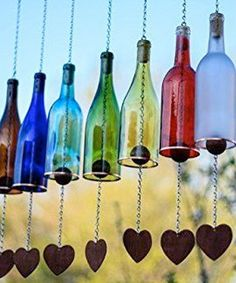 Wind Chimes Made From Glass Wine Bottles with Copper Trim Ou.- Wind Chimes Made From Glass Wine Bottles with Copper Trim Outdoor Garden Patio Decor Unique Wine Gift Home Decor Wine Bottle Wind Chime Garden Decor Gift for von BottlesUncorked - Glass Bottle Crafts, Wine Bottle Art, Crafts With Wine Bottles, Wine Bottle Windchimes, Diy Bottle, Decorative Wine Bottles, Wine Bottle Lanterns, Wine Bottle Garden, Bottle Labels