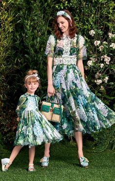 """If our dresses were darker, Mommy and I would blend with the trees. Mother Daughter Fashion, Mom Daughter, Mom And Baby Outfits, Girl Outfits, Mom Dress, Baby Dress, Toddler Fashion, Kids Fashion, Little Girl Dresses"