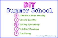 "DIY Summer School.  Simple ideas to keep you going throughout the summer - just 20 minutes each day!  Stop the dreaded ""summer slide"" or loss of learning that occurs during the summer."