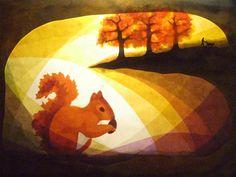Fensterschmuck - Herbst Eichhörnchen - ein Designerstück von art4windows bei DaWanda