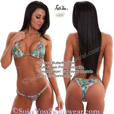 Crystal Butterfly Bikini, Multi Flower print fabric.  Model Jade.