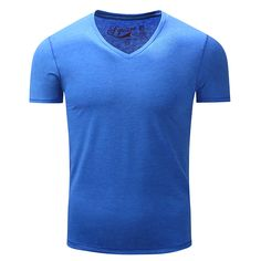 38e7d8ce4f Camisetas de algodón puro de algodón para hombre Camisetas de manga corta de  moda V Basic