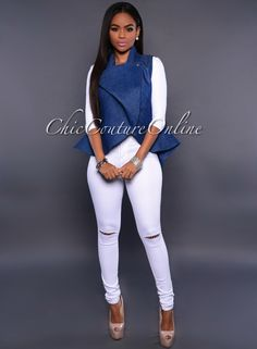 Chic Couture Online - Masson Medium Denim Blue Luxe Peplum Jacket, (http://www.chiccoutureonline.com/masson-medium-denim-blue-luxe-peplum-jacket/)