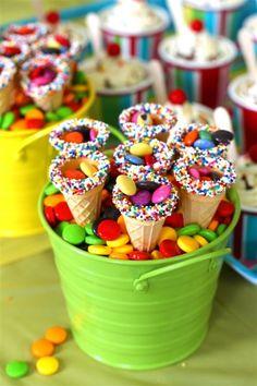 sprinkles + ice cream cone treat holders. sugarcoatedbliss.
