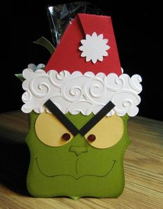 My Daughter's friend Daisy loves Jim Carey & the Grinch, so when I came across this Grinch by the wheels started spinning & I ca. Grinch Christmas, Stampin Up Christmas, Christmas Bags, Christmas Treats, Handmade Christmas, Christmas Banners, Xmas Cards, Holiday Cards, Punch Art Cards