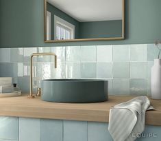 Equipe Artisan Aqua x cm - płytka ceramiczna ścienna 24458 Mosaic Bathroom, Bathroom Floor Tiles, Wall Tiles, Small Bathroom, Master Bathroom, Ceramic Tile Bathrooms, Aqua Bathroom, Bathroom Basin, Bad Inspiration