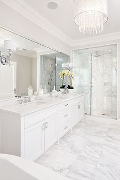 In our Fall issue of Canadian Home Trends Magazine we bring you our all time favourite makeovers! Here is a sneak peek at some of the fabulous renovations Bathroom Renos, Small Bathroom, White Bathroom Cabinets, White Master Bathroom, Condo Bathroom, White Vanity Bathroom, Modern Bathroom, Bathroom Ideas, Bad Inspiration