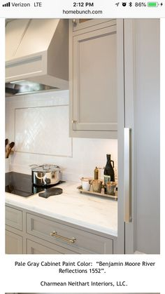 Popular Cabinet Paint Colors Cabinets painted with River Reflections from Benjamin Moore.Cabinets painted with River Reflections from Benjamin Moore. Kitchen Cabinets Decor, Kitchen Cabinet Colors, Grey Cabinets, Cabinet Decor, Painting Kitchen Cabinets, Kitchen Paint, Cabinet Ideas, Cabinet Design, Kitchen Ideas