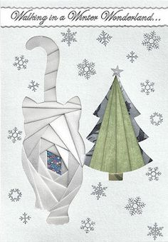 Cat Walking in a Winter Wonderland Sample Pattern Example card by BobbiLynn Provan. Iris Paper Folding, Iris Folding Pattern, Origami Folding, Paper Pieced Quilt Patterns, Paper Piecing, Paper Cards, Folded Cards, Doodle Books, Origami And Kirigami