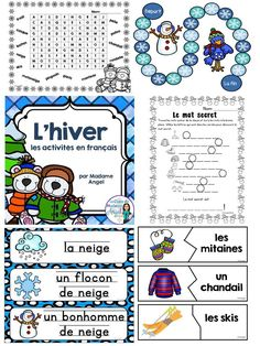 Le vocabulaire d'hiver.  Great activities for practicing winter vocabulary in French!