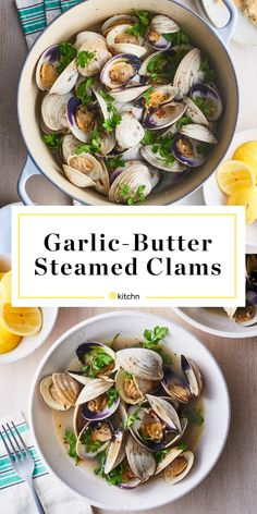 Clams are steamed in a fragrant and tasty broth made with melted butter, garlic, and white wine. Fish Recipes, Seafood Recipes, Dinner Recipes, Cooking Recipes, Healthy Recipes, Dinner Ideas, Cooking Ideas, Asian Recipes, Cooking Fish