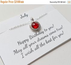 TODAY SALE July Birthstone Necklace  Lt. Siam by Jenalynscreations