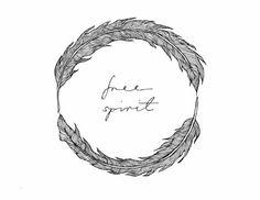 Free Spirit Feather Circle Illustration Design by AdriannesDesigns,