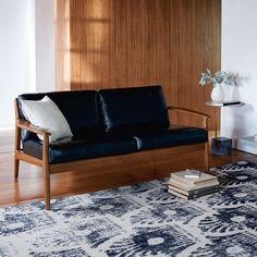 Mathias Mid-Century Wood Frame Leather Loveseat
