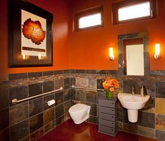 Orange brings dramatic charm to the cool bathroom [Design: L.Evans Design Group] Orange Bathroom Accessories, Orange Bathroom Decor, Orange Bathrooms, Brown Bathroom, Small Bathroom, Bathroom Towels, Bathroom Wall, Bathroom Color Schemes, Bathroom Colors