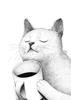 55 trendy ideas for cats illustration love drawings - Рисунки - Katzen Pinguin Illustration, Love Illustration, Cat Illustrations, Coffee Illustration, Love Drawings, Animal Drawings, Cat Throw, Throw Pillow, Cat Pillow