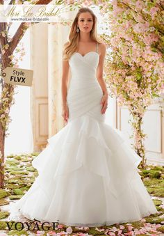 Voyage Bridal By Mori Lee 6833 Crystal Beaded Straps On Organza Available In Three Lengths 55