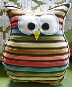 Owl Pillow.rock painting idea
