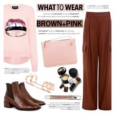 """What to wear: Brown + Pink"" by ifchic ❤ liked on Polyvore featuring TIBI, Markus Lupfer, Karen Walker, Edge of Ember and Elizabeth Arden"