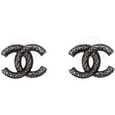 Chanel Vintage Logo Earrings ($691) ❤ liked on Polyvore featuring jewelry, earrings, chanel, accessories, metallic, chanel earrings, vintage earrings, vintage post earrings and logo earrings