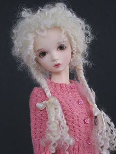"""Elly Mae"" wig with braids for Iplehouse JID sized girls. This wig has a Tibetan lamb cap and mohair extensions for the pigtails. I love the sweet and wild look of this style. It works with contemporary, vintage, and even gothic personalities. The model is Iplehouse JID Amy and she is wearing a fabulous sweater made by Monica Cooper knit2tbl.wordpress.com/ Visit my blog at MadWifeInTheAttic.com for craft stuff and tutorials."