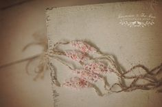 Beige handspun yarn, vintage pink lace, pink chiffon flower, cream lace, Newborn photography prop by Princess & the Pea Photography Props
