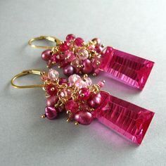 Bright Pink Quartz Topaz and Pearl Wire Wrapped by SurfAndSand, $149.00