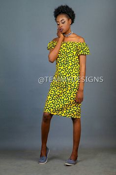 Materials: Ankara fabric, African fabric, elastic Handmade Ships worldwide from Nigeria   This Ankara off the shoulder dress skirt was made with 100% cotton Ankara fabric with a very rich color and nice print. It is available in several prints. The following measurements are required if