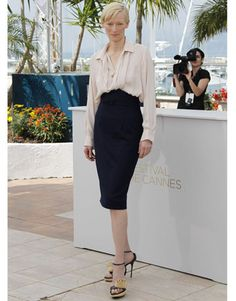 Tilda in ivory blouse and black pencil skirt at the cannes film festival