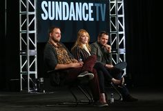 (L-R) Executive Producer/Writer/Director Jim Mickle and actors Christina Hendricks and James Purefoy speak onstage during the Sundance TV's Hap and Leonard panel as part of the AMC Networks portion of This is Cable 2016 Television Critics Association Winter Tour at Langham Hotel on January 8, 2016 in Pasadena, California.