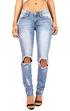 Pink Ice Women's Juniors Low Rise Ripped Knee Jeans Denim 11 ❤ ...
