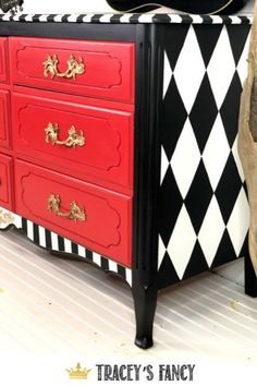 A red whimsical dresser to brighten any room 2019 T&; A red whimsical dresser to brighten any room 2019 T&; Zita Flatley Bohemian Furniture A red whimsical dresser to […] painted furniture Boho Furniture, Neutral Living Room Furniture, Diy Dresser, Redo Furniture, Furniture Makeover Diy, Repurposed Furniture, Red Dresser, Whimsical Furniture, Funky Painted Furniture