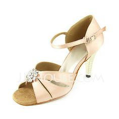 Dance Shoes - $68.99 - Women's Satin Heels Sandals Latin Wedding Party With Rhinestone Dance Shoes (053013459) http://jjshouse.com/Women-S-Satin-Heels-Sandals-Latin-Wedding-Party-With-Rhinestone-Dance-Shoes-053013459-g13459