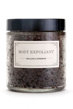Mullein & Sparrow Body Exfoliant, $20 - Slough off dead, dry skin with this exfoliating scrub. Our rich and fragrant blend combines the earthy, sweet tones of coffee Arabica with the invigorating qualities of mint essential oil. This exfoliant will polish away dull surface layers and reveal the soft, glowing skin underneath.