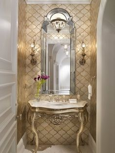 Traditional Powder Room with Console sink, Standard height, Crown molding, Powder room, Wall sconce, Paint, stone tile floors