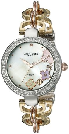 e19082a98dda Akribos XXIV Womens AK886TT Genuine Diamond Quartz Two Tone Bracelet Watch     Details can be found by clicking on the image. (Note Amazon affiliate  link)