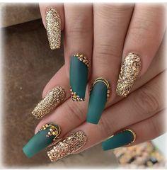 Nail Designs nail designs for fall nail designs for summer gel nail designs 2019 - Teal Nails, Green Nails, Bling Nails, Gold Gel Nails, Cute Nails, Pretty Nails, Gorgeous Nails, Hair And Nails, My Nails