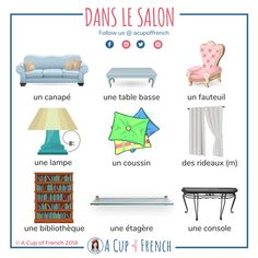 Dans le salon 1 Do you know how to describe your living room in French? With this infographic you'll learn a few French words to help you do so. French Language Lessons, French Language Learning, French Lessons, Spanish Lessons, Dual Language, French Verbs, French Grammar, French Phrases, Basic French Words
