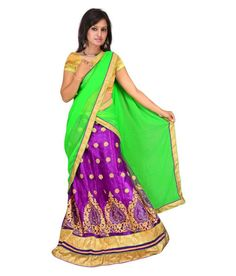Latest Designer Purple Color Lehenga for women with Light Green Color Dupatta  and Chiku Color Blouse. Embroidery Kali and Butty Design Work on Lehenga.