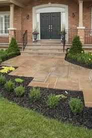 front porch with stamped concrete Front Yard Walkway, Front Porch, Masonry Work, Lawn Edging, Stamped Concrete, Front Entrances, Garden Shop, Flagstone, The Great Outdoors